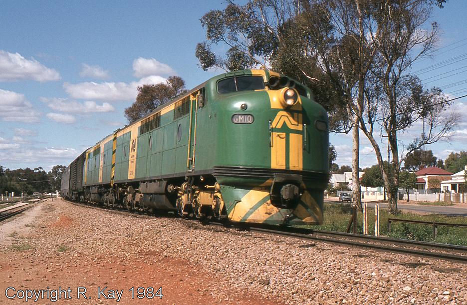GM-10 & GM-6 departing Peterborough with the 'Indian Pacific' by Robert Kay