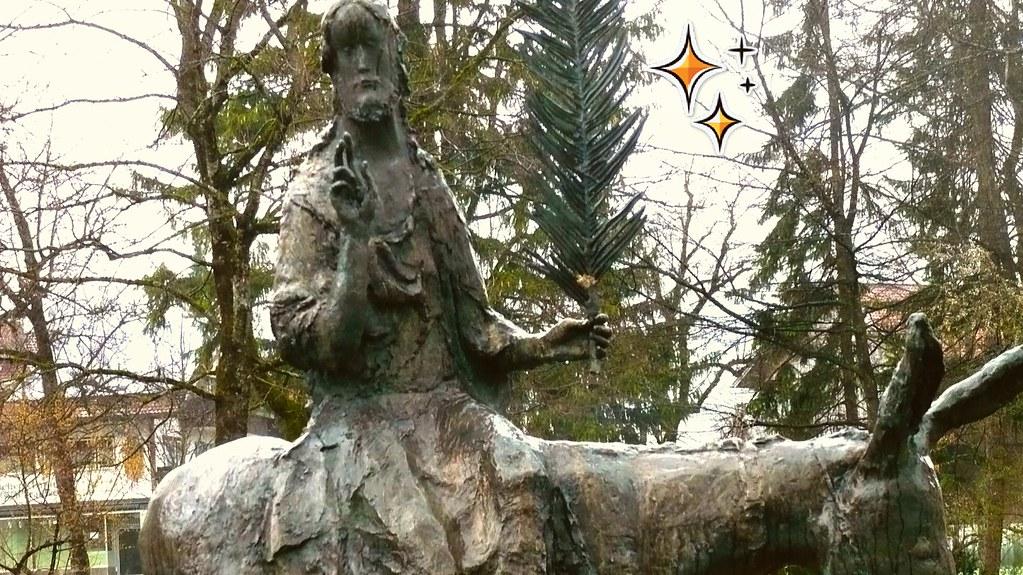 PALM SUNDAY - PALMSONNTAG - Auf einem Esel reitend, ...!  Symbolsprache für Frieden und segensreichem Sieg.  Allegories of a blessing Victory and Peace.