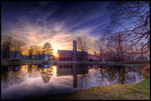 sunset pond cottbus hdr goethepark