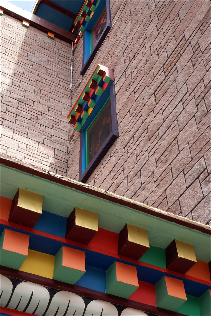 Colourful windows and doors.