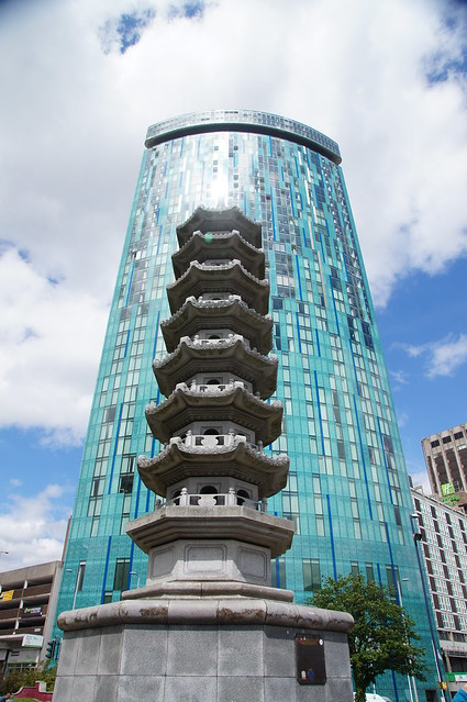 Pagoda and tower Block