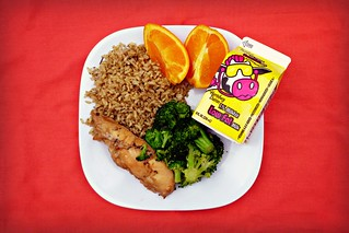 Lunch at DCPS on 5/16/2012: Chicken Teriyaki with Brown Rice, Steamed Broccoli, Orange Wedges & Milk | by DC Central Kitchen