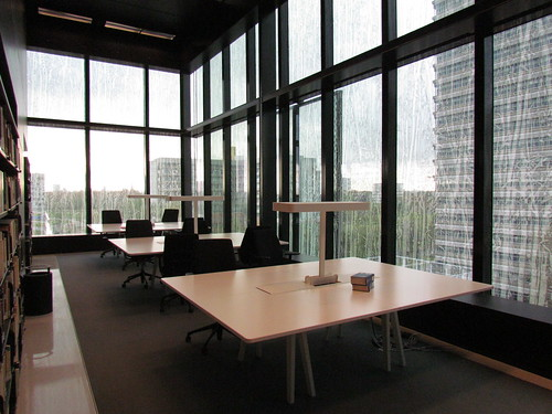 High ceilings and a view, are students really studying at these tables? | by ocegep
