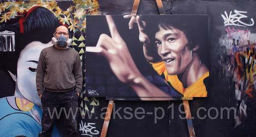 Bruce Lee Graffiti Portrait by Akse (P19 Crew)