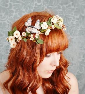 Delphine-wild rose and butterfly hair wreath | by Bellafaye Garden