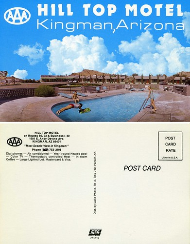 arizona classic pool vintage route66 postcard nick motel scan retro business swimmingpool aaa timeless kingman epson4490 hilltopmotel nickleonard bestviewinkingman mostscenicviewinkingman