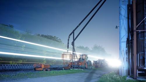 longexposure railroad industry night lightstreak tungstenwhitebalance sonynex5n industar6928mmf28russianlens