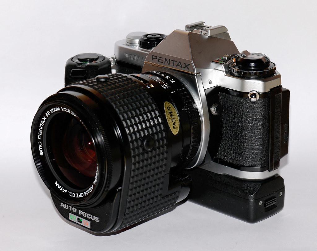 Pentax ME-F with AF 2.8/35-70mm lens and Winder ME2