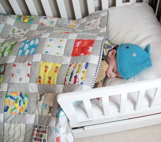 PB snuggling with his new I-Spy Quilt