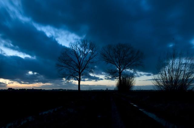 Lith, winteravond in de polder. Winterevening in our polder