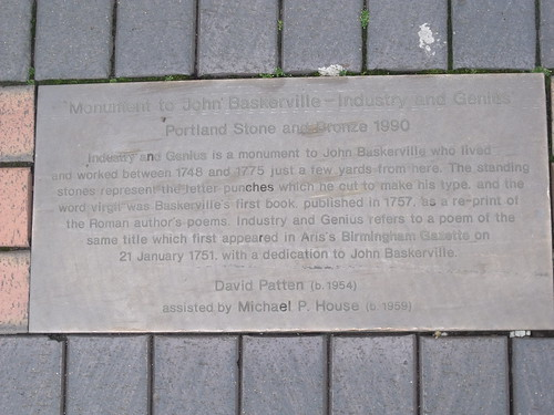 Plaque - Monument to John Baskerville - Industry and Genius