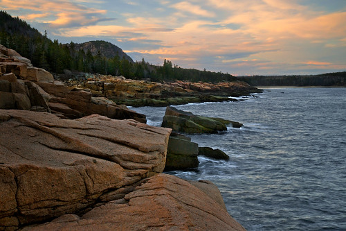 ocean park longexposure travel trees light sunset vacation sky mountain seascape beach nature colors clouds landscape coast harbor scenery colorful day stones maine peaceful atlantic national shore end geology fading acadia mountdesertisland