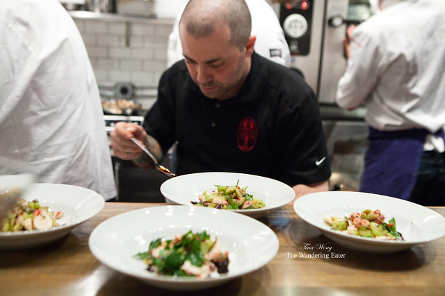 Chef Ed McFarlane plating his octopus salad course