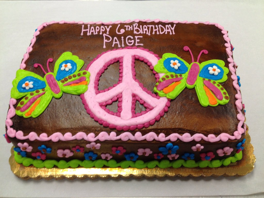Sensational Peace Sign Birthday Cake Misslandis Flickr Personalised Birthday Cards Epsylily Jamesorg