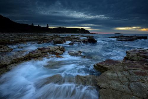 seascape sunrise seaside rocks australia shore newsouthwales aus ndfilter swanseaheads nikon1635mmf4 nikond750