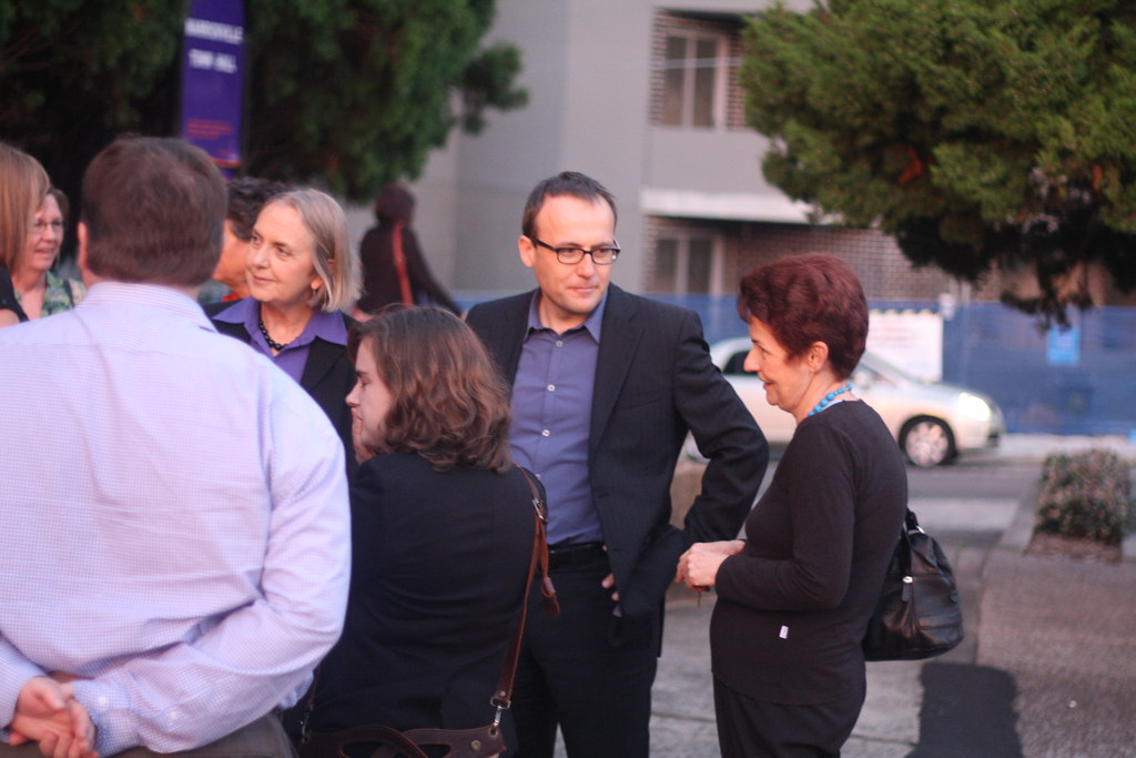 Adam Bandt and Lee Rhiannon with Greens members outside Marrickville Town Hall