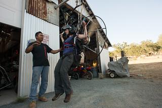 Joe Teaching Tara in a Powered Paragliding Simulator   by goingslowly