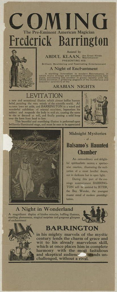 Coming the pre-eminent American magician Frederick Barrington