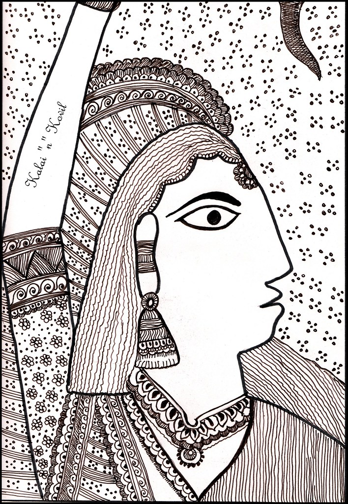 Madhubani Art style in Indian Ink Medium | Depicted and trie