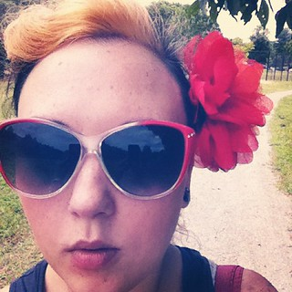 Out for a walk with miss prissy butt. Finally did my roots! Blonde again. | by polkadotted1