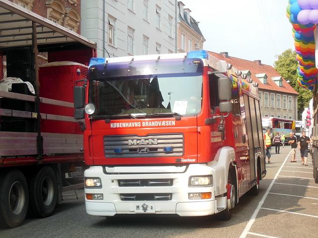 Copenhagen Firebrigade MAN M2 at Pride parade