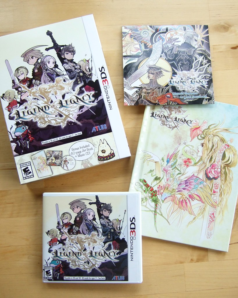 Contents of North American 'launch edition' version of The Legend of Legacy (3DS)
