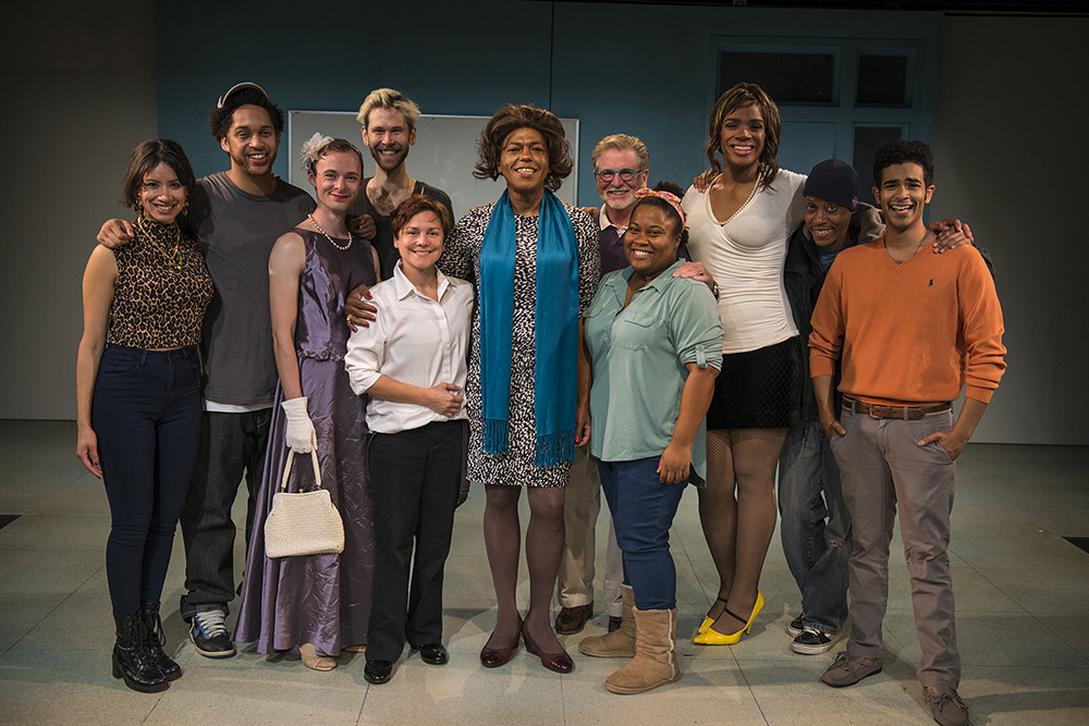 The cast of CHARM with playwright Philip Dawkins and director BJ Jones