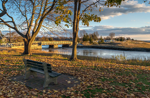 bridge autumn trees sky color tree fall leaves clouds river bench outdoors leaf nikon afternoon connecticut hdr goldenhour hbm clintontownbeach nikond5300