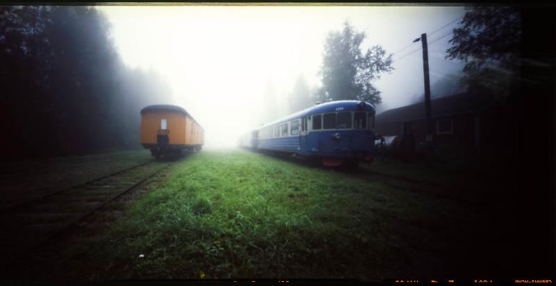 Trains in morning fog
