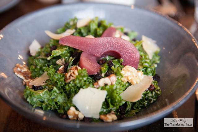 Kale salad, quince vinaigrette, poached pear, currants, toasted walnuts, Sarvecchio Parmesan