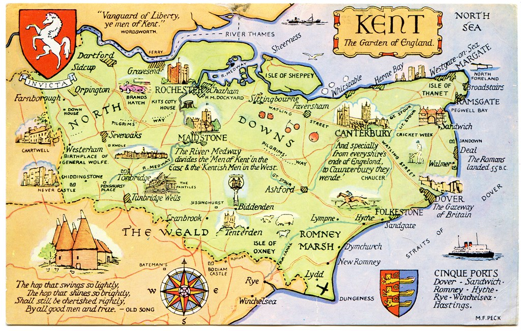 Kent Map Of England.Postcard Map Of Kent The Garden Of England Drawn By M F P Flickr