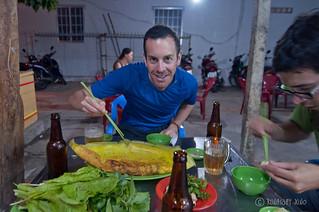 Michael with Banh xeo - Vietnamese Pancake | by RunawayJuno