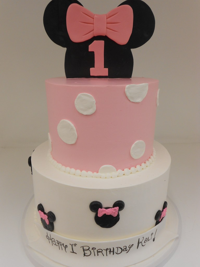 Peachy Minnie Mouse Birthday Cake 1200 Two Tier Butter Cream Bi Flickr Funny Birthday Cards Online Overcheapnameinfo