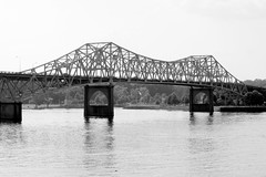 O'Neal Bridge - The Shoals, AL (B/W view from Old Railroad Bridge)