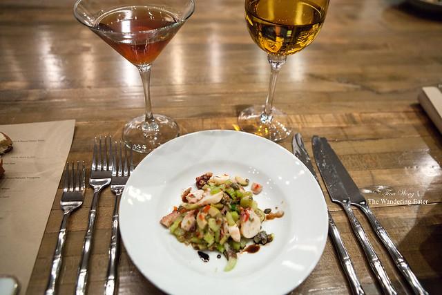 Octopus salad, parsley, green olive, capers, red pepper, lemon zest, olive oil, lime juice by Ed McFarlane of Ed's Lobster Bar