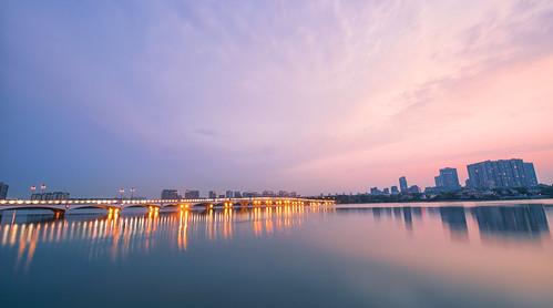 china bridge sunset sky cloud lake building water architecture cn sunrise landscape nikon peace outdoor d800 nikond800 jiangsusheng nanjingshi tamronsp1530f28