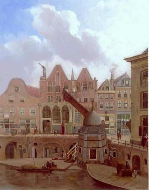 Gezicht op de Oudegracht te Utrecht bij de Stadhuisbrug met de voorgevels van de huizen aan de westzijde van de gracht en de Ganzenmarkt, met in het midden het huis Ruitenberg en het St. Barbara- en Laurensgasthuis, en rechts de hoek van het huis Keijserrijk, met op de voorgrond de stadskraan. De huizen Rutenberg en het St. Barbara- en Laurensgasthuis, later de Winkel van Sinkel, heeft sinds 1917 het adres Oudegracht 158. A. Wijnands, 1837. Coll. Het Utrechts Archief.