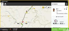 A screen shot of the app while following the Tour.   Photo by Dimension Data