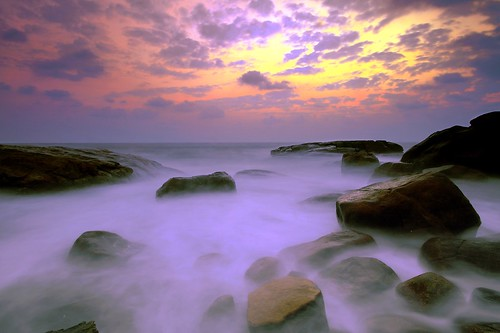 longexposure travel sunset sea beach water rocks slowshutter vizhinjam