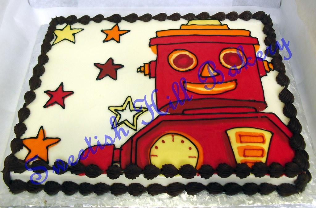 Magnificent Red Robot Birthday Cake Custom Design On A 1 2 Sheet Cake Flickr Funny Birthday Cards Online Alyptdamsfinfo