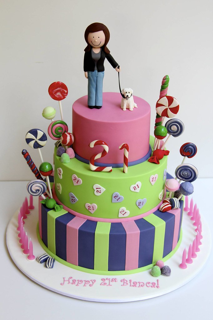 Wondrous Candy Themed 21St Birthday Cake Well Its Bright Bold And Flickr Funny Birthday Cards Online Amentibdeldamsfinfo
