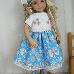 Dianna Effner Little Darling and Meadowdolls Avery sharing Blue Floral Dress