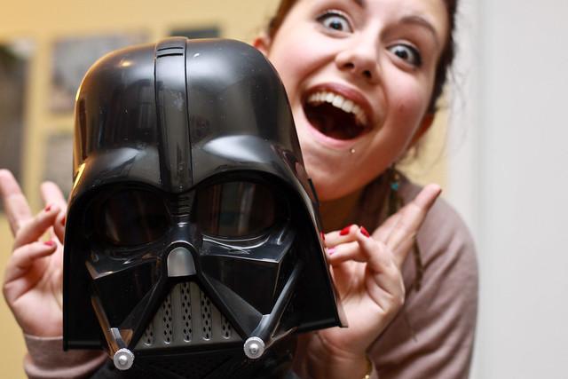 Darth Vader et la fille en arrière