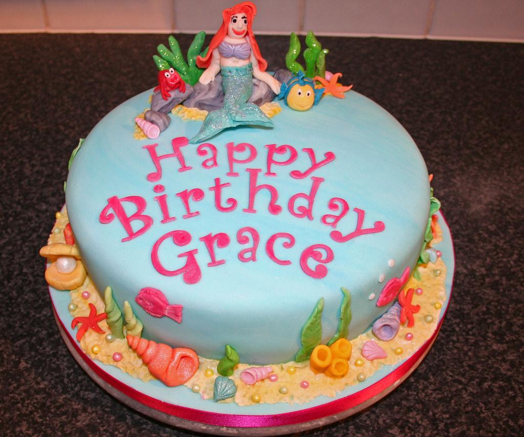 Peachy Ariel The Little Mermaid Birthday Cake Janet Whitehead Flickr Personalised Birthday Cards Beptaeletsinfo