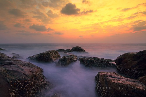 longexposure travel sunset sea beach water rocks long exposure waves slow blurred slowshutter shutter milky vizhinjam