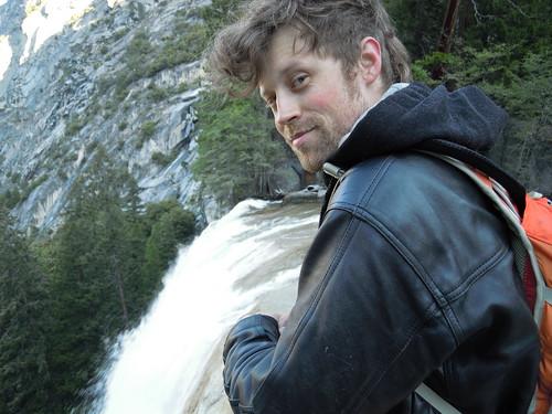 Hiking (and Climbing) Half Dome: Matt at the top of Vernal Falls   by mormolyke