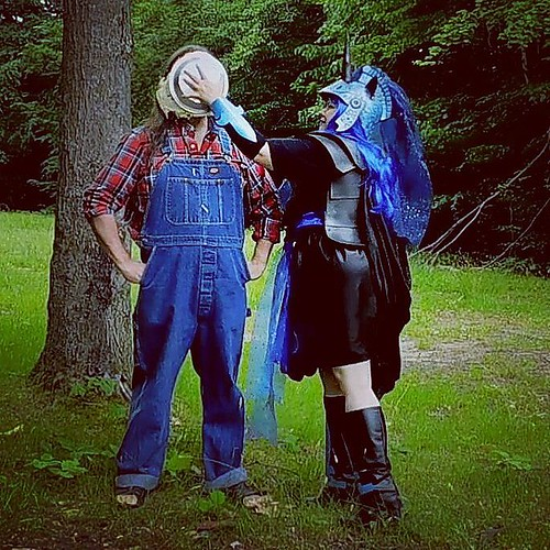 2/3 She deploys the pie.... #pieintheface #overalls #Dickies #bluedenim #plaid #cosplay #mylittlepony #nightmaremoon