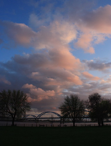 park bridge sunset water clouds canon river mississippi iowa xsi