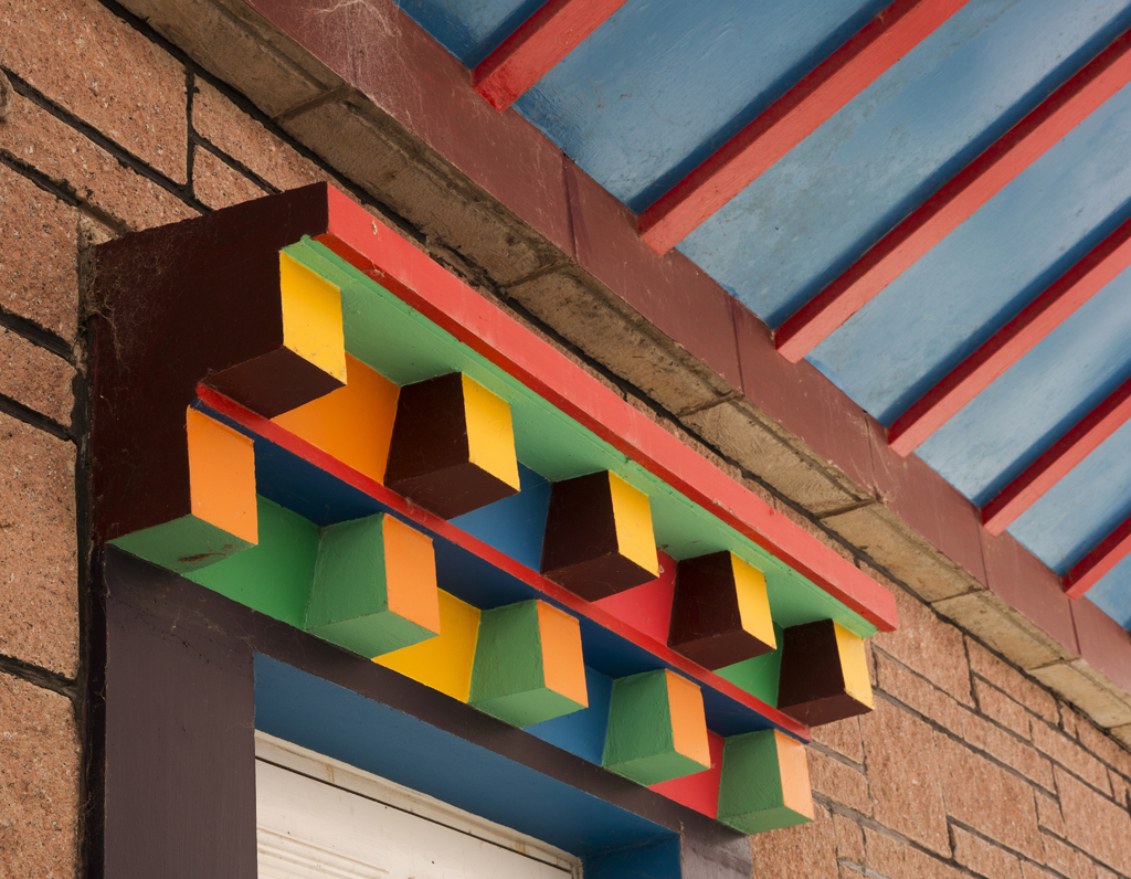 Colourful door lintel and roof