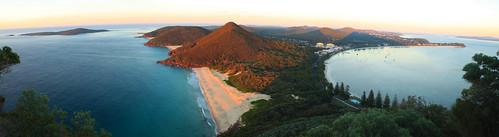 ocean sea panorama seascape beach sunrise landscape coast newsouthwales nelsonbay portstephens tomareehead